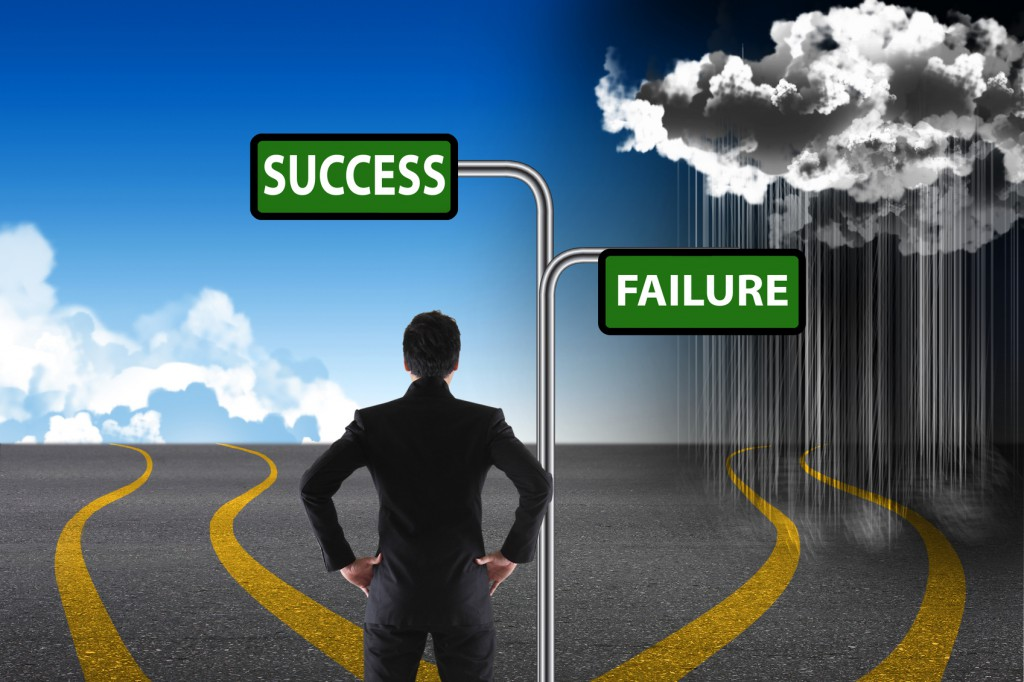 Cross roads with success and failure road signs